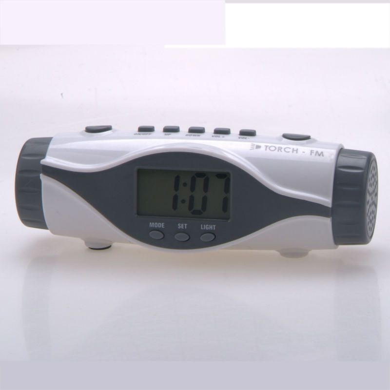 Radio alarm  electronic clock with LED torch