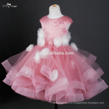 FG20 Real Sample White Handmade Flowers Pink Tulle Flower Girl Net Dresses For Weddings