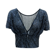Ladies' New Arrival Sequins Bling Bling Shining Sexy Fashion Top