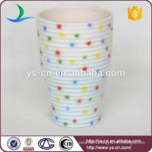 green/white cross grain porcelain tumbler with dot