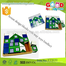 Child Wooden Educational Building Blocks- House Design Blocks with Tray Toys Intellect