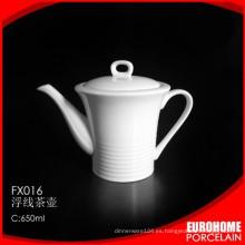 Nueva llegada durable hotel super blanco cerámica olla juego de té