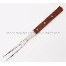 """12 """"madeira longa alça ferramenta de aço inoxidável para churrasco (SE-5652)"""
