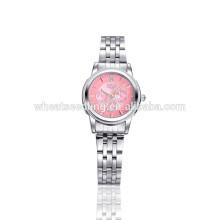 Cara rosada tres ojos de acero inoxidable moda señora reloj de mano