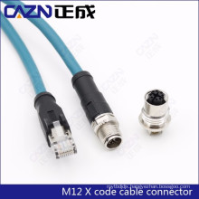 M12 X code Ethernet CAT6A 10 Gigabit/s Ethernet 8pin male connector