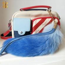 Большой размер Real Fox Fur Tail Key Ring Tail Fur Bag Charm