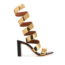 2020 women newest fashion strappy block heel vegan leather sandals