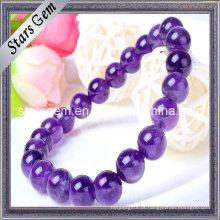 Natural 7 milímetros a 11 milímetros pulseira Amethyst Beads