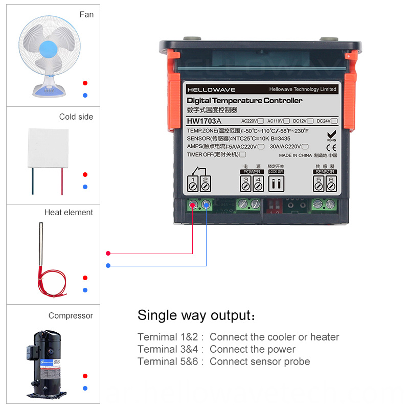 HW-1703A Digital Temperature Controller For Water Heater