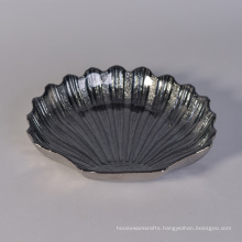Shell Shape Glass Plate with Iridescent Finish