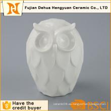 Alta calidad blanco estatuilla de cerámica de búho para la decoración del hogar