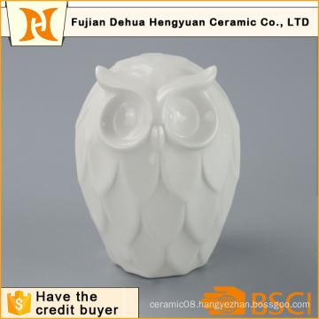 High Quality White Ceramic Owl Figurine for Home Decoration