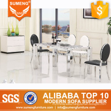american style marble top stainless steel frame dining room table and chair