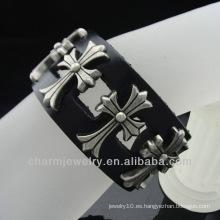 Banda de pulsera de cuero hecha a mano de joyería de los hombres de antigüedad de cuero negro Pulseras de cuero genuino BGL-029