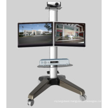 Dual Screen Heavy Duty Wheeled Monitor Mount Stand (PSF207)
