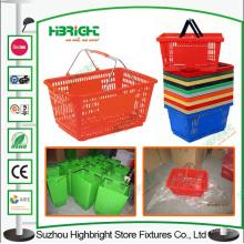 Poignée en métal supermarché panier de Basket en plastique