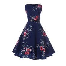 Красивое винтажное платье трапециевидной формы с круглым вырезом и цветком без рукавов