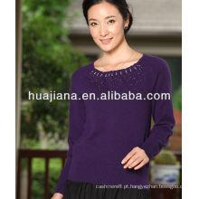 Mulheres misturadas malhas de cashmere / pescoço redondo de moda