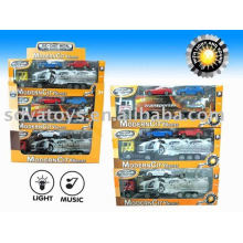 FREE WHEEL DIE CAST CONTAINER TRUCK CARRY 2PCS CARS WITH LIGHT AND MUSIC