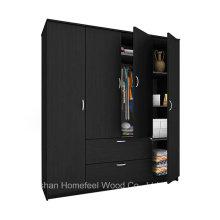Libre de madera de pie 4 puertas dormitorio armario muebles de armario (HF-WS023)