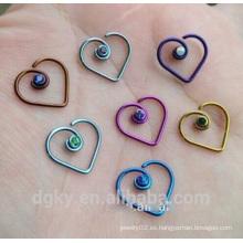 Anodizado Cirugía de acero Corazón anillo de la nariz de la joyería con diamante