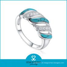 Anel de turquesa azul de prata de alta qualidade