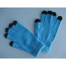 Luva do trabalho da tela de toque de cinco dedos do forro do poliéster 10g