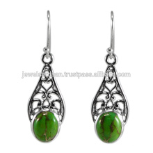 Natural Green Copper Turquoise Gemstone 925 Sterling Silver Earring Jewelry