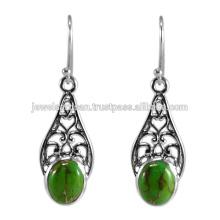 Натуральный Зеленый Меди Бирюзовый Драгоценных Камней 925 Серебряные Серьги Ювелирных Изделий