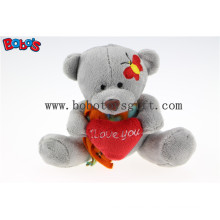"""5.1"""" Small Size Grey Plush Teddy Bear Toy with I Love You Heart Pillow Bos1109"""