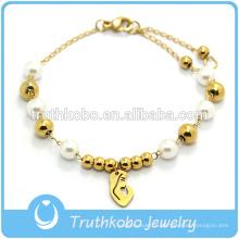 Bracelet en perles de verre plaqué or 18 carats avec pendentif Vierge Marie Bracelet en chapelet catholique en acier inoxydable 316 avec croix pour prière