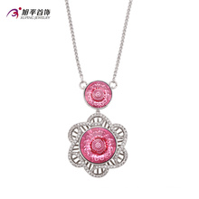 Forme a lujo el collar cristalino de la joyería de CZ Crystal Rhodium con la flor -Xn4772