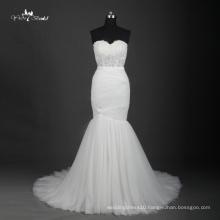 TW0191Illusion Pleat Simple Holy White Mermaid Wedding Dress