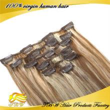 Vente chaude grade 7A grade cheveux humains péruviens mélangé clip de couleur dans les extensions de cheveux