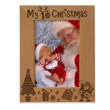Christmas hot selling custom 5x7 Natural Wood Engraved My First Baby's 1st Christmas christmas decorations Picture Frame