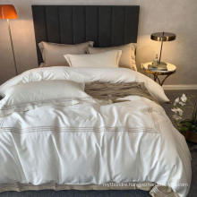 5 Star Hotel Modern Design Embroidered Bed Sheet Cotton White for Double Bed