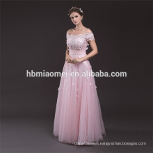 2017 Latest Light Pink Embroidered Short Sleeve Floor Length Evening Lace Dress