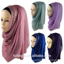 Fashion New Pattern whosale women plain stone diamond hot stylish muslim hijab