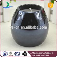 Sujetadores de vela de cerámica esmaltada redonda negra