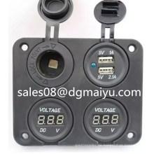 Dual USB Port Steckdose Ladegerät Adapter & Voltmeter Car Camper Caravan Marine 12V