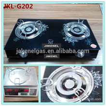 tempered glass top 2 burner gas cooker, gas stove with glass top