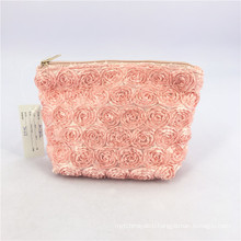 Pink Polyester Cosmetic Bags Toiletry Bag For Women Boat Flower Shape Gold Zipper Purse Makeup Bags