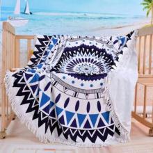 Viaje orgánico toalla de playa con franja