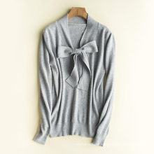 PK18ST100 butterfly tie wool cashmere woman sweater T-shirt sweater