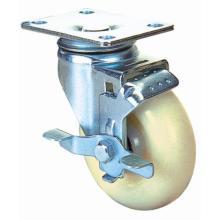 Roulette pivotante en nylon avec frein latéral (blanc)