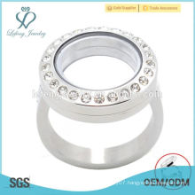 Fashion 20mm silver crystal magnet stainless steel floating charm locket ring design