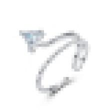 Anel de abertura do triângulo da forma da prata esterlina 925 das mulheres