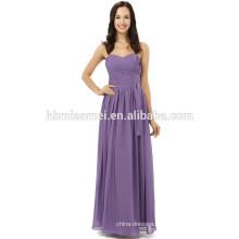 Newest Fashion Handmade floor length long design solid purple evening dress