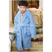 Sky Blue polyester coral fleece bathrobe for Boys