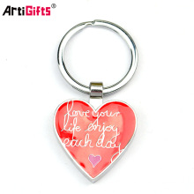Free Sample No Minimum Promotion Cheap Custom Metal Heart Engraved Keychain